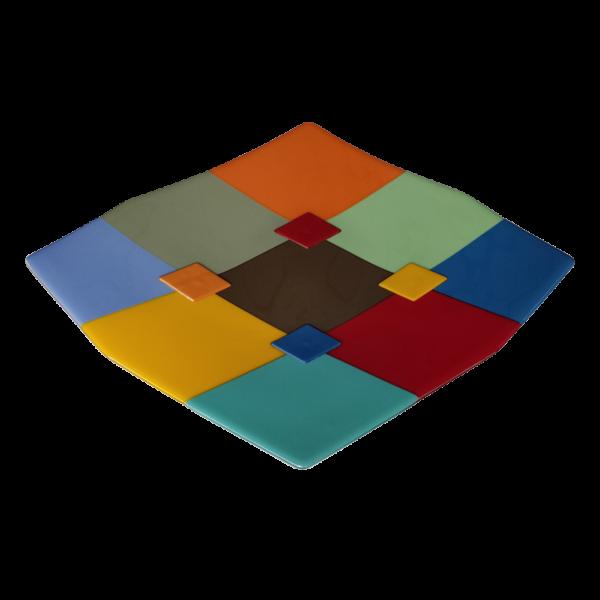 Schaal Arlecchino felgekleurd boven aanzicht