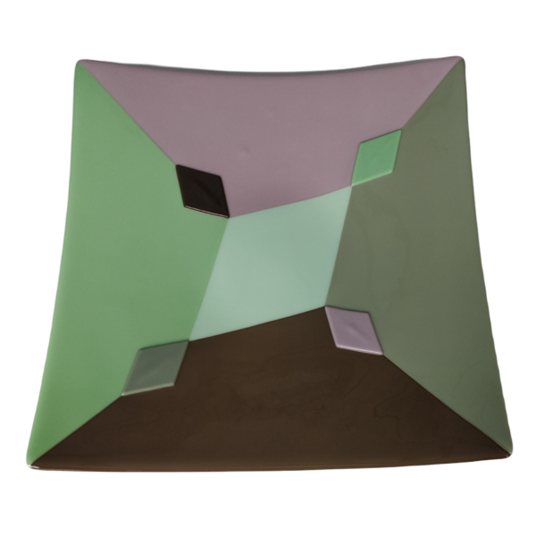 Schaal Pulcinella groen bruin boven aanzicht
