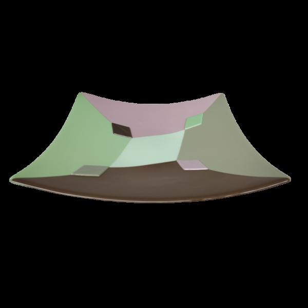 Schaal Pulcinella groen bruin voor aanzicht